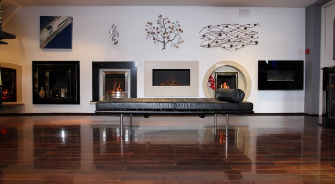 Hole in wall gas fires in our fireplace showrooms in Leeds