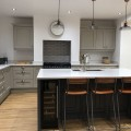 Grey island with breakfast bar - kitchens Leeds