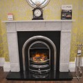 Marble Fireplace with Cast Iron Arch