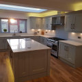 We recently supplied and installed this Shaker kitchen in Partridge Grey with Chrome quartz worktops for Mr & Mrs Downes in Clifford. Designed by Dale