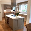 We recently supplied and installed this shaker painted kitchen in Stone with Ice White Quartz worktops for Mr & Mrs McMurrough in Bramhope. Designed by Dale