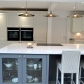 We recently supplied and installed this beautiful kitchen for Mr and Mrs Corcoran in Scarcroft. This Porcelain Shaker Kitchen with its Dust Grey Island works perfectly with the Ice White and White Calacatta Quartz worktops.