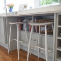 Usable storage under breakfast bar - kitchens Leeds