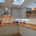 Shaker painted kitchen oak worktops kitchen showroom Leeds