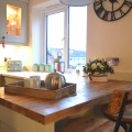 Breakfast bar oak worktop kitchen showrooms in Leeds