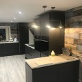 Handleless kitchen in dark grey Graphite with copper rails - kitchens Leeds