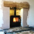 Solid Oak Beam and Downlights, Leeds Stoves