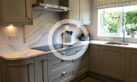 We recently supplied and installed this Shaker painted kitchen in Stone with Sea Wave Quartz worktops for Mr & Mrs Hallam in Huddersfield. Designed by Olivia.