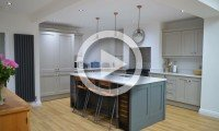 Shaker kitchen with contrasting island, stone and slate - kitchens Leeds